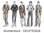 Fashion man. Set of fashionable men's sketches on a white background. Spring men. | Shutterstock vector #1013732626