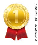 realistic gold medal with red... | Shutterstock .eps vector #1013735512