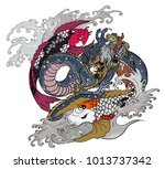 hand drawn and tattoo design... | Shutterstock .eps vector #1013737342