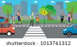 city street and road  people go ... | Shutterstock .eps vector #1013761312