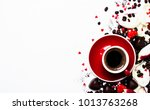 red cup of espresso coffee on... | Shutterstock . vector #1013763268