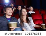 young people in the cinema | Shutterstock . vector #101376355