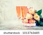 bouquet of white and red roses  ... | Shutterstock . vector #1013763685