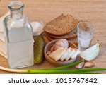 pile of moonshine with snack... | Shutterstock . vector #1013767642