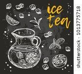 ice tea card. hand drawn doodle ...   Shutterstock .eps vector #1013775718