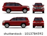 realistic suv car. front view ... | Shutterstock .eps vector #1013784592