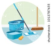 house cleaning service round... | Shutterstock .eps vector #1013787655
