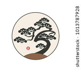 pine tree with asian... | Shutterstock .eps vector #1013787928