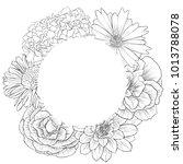 vintage vector floral frame in...   Shutterstock .eps vector #1013788078