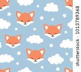 cute fox seamless pattern ... | Shutterstock .eps vector #1013789368