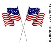 two 3d american flags. element... | Shutterstock . vector #1013789758