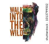 wild monkey illustration  half... | Shutterstock .eps vector #1013799502