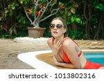 fashion girl beautiful... | Shutterstock . vector #1013802316
