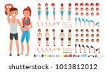 fitness girl  man. animated... | Shutterstock . vector #1013812012