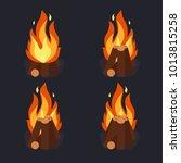 bonfire and burning woodpile ... | Shutterstock .eps vector #1013815258