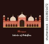 badshahi mosque  lahore... | Shutterstock .eps vector #1013821672
