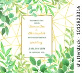 floral wedding invitation with... | Shutterstock .eps vector #1013823316