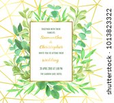 floral wedding invitation with... | Shutterstock .eps vector #1013823322