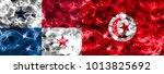 panama vs tunisia smoke flag   Shutterstock . vector #1013825692