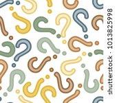 quiz seamless pattern. question ... | Shutterstock .eps vector #1013825998