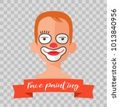 kid with clown face painting...   Shutterstock .eps vector #1013840956