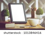 close up of blank picture frame ... | Shutterstock . vector #1013846416