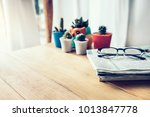 office workplace with newspaper ... | Shutterstock . vector #1013847778
