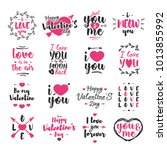 valentines day emblem set with... | Shutterstock . vector #1013855992