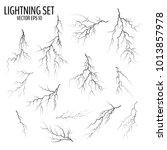 set of different black cracks... | Shutterstock .eps vector #1013857978