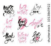 set of hand drawn love quotes.... | Shutterstock .eps vector #1013865922