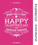 valentines day card with label... | Shutterstock . vector #1013868916