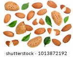 almonds with leaves isolated on ... | Shutterstock . vector #1013872192