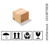 fragile symbol on cardboard... | Shutterstock .eps vector #1013875828