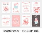 cute little pink unicorn hand... | Shutterstock .eps vector #1013884108