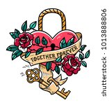 heart shaped lock. tattoo heart ... | Shutterstock .eps vector #1013888806