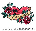 heart entwined in climbing rose ... | Shutterstock .eps vector #1013888812