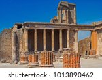 Small photo of The ruins of the ancient city of Pompeii near the volcano Vizuvius in Italy.