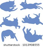 Silhouettes Of A Reclining Cat...