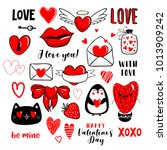 valentines day set with love... | Shutterstock .eps vector #1013909242