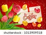 easter composition with bouquet ... | Shutterstock .eps vector #1013909518