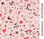 Seamless Doodle Love Pattern...