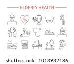 elderly health line icons set.... | Shutterstock . vector #1013932186