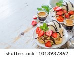 waffles with strawberry  ice... | Shutterstock . vector #1013937862