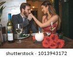 romance at night restaurant for ... | Shutterstock . vector #1013943172