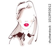 beautiful woman with red lips... | Shutterstock .eps vector #1013953012