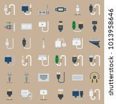 icons connectors cables with... | Shutterstock .eps vector #1013958646