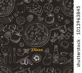 seamless pattern with pizza and ... | Shutterstock .eps vector #1013963845