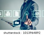 businessman is shopping online... | Shutterstock . vector #1013964892