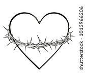 crown of thorns and heart... | Shutterstock .eps vector #1013966206