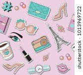 fashion patch badges with... | Shutterstock .eps vector #1013969722